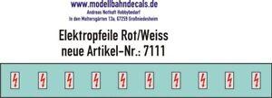 10 TT-Elektropfeile 1,2 x 0,6 mm - rot auf weißem Schild 120-7111