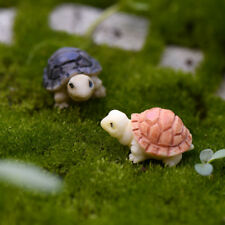 2 Pcs Tortoise Miniature Garden Ornament Terrarium Figurine Landscape Decoration