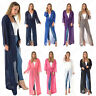 New Womens Ladies Mesh Open Front Belted Long Sleeve Maxi Floaty Cardigan 8-24