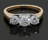 14K 2-tone gold 1.47CT diamond 3-stone engagement ring w/ large diamonds size 7
