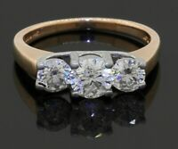 14K 2-tone gold 1.47CT diamond 3-stone engagement ring w/ large diamonds size 7