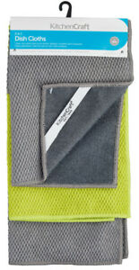 KitchenCraft Pack of 3 Two-in-One Microfibre & Soft Scourer Dish Cloths