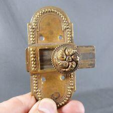Antique French Beaded Gilt Brass Sliding Door Cabinet Knob Lock Latch Bolt