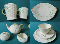 BELLEEK IRELAND POTTERY TEA SET TRIO PLATES CUPS TEAPOT SUGAR CREAMER MUGS PICK