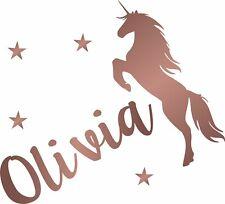 Personalised Name Unicorn Wall Sticker Kids Bedroom Custom Art Girls Decal