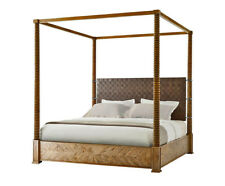 Stunning Modern Hand Woven Leather And Oak King Sized Four Poster Bed New  Custom