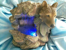 Table Top Wolf Cave Water Fountain w/changing colors