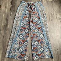 Anthropologie Elevenses 0P Pants Seaflower Wide Leg Bird Print Petites Womens