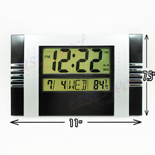 LCD Digital Desktop +Wall Clock Thermometer , Time, Alarm Clock Black-Silver