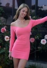sexy Coral Stretch Cottom Lycra Minidress/Long Sleeve/Made in usa/s-m/Club/Rave