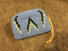 Native American Indian Seed Bead Coin Purse Soft Deer Skin Leather Shoshone