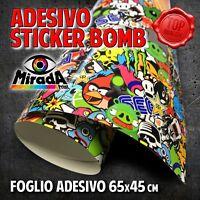 FOGLIO ADESIVO STICKERBOMB TUNING 65 X 45 CM TERMOFORMABILE WRAPPING AUTO MOTO