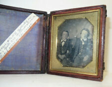 Antique 1/6 Plate Daguerreotype Photo of 2 Young Boys / Brothers