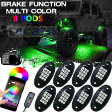 8 Pod RGB LED Rock Light Under bluetooth Car Off-Road Truck For Jeep Wrangler