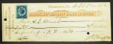 US Check Discount and Deposit Bank Limited Clarion Paid 1882 USA Scheck (H-8150