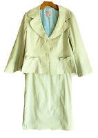 NANETTE LEPORE GREEN WHITE CHECK JACKET BLAZER Size 12 SKIRT Size 8 SUIT SET