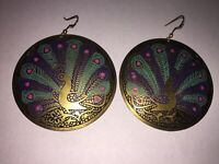 Huge Vintage Cloisonné Enamel Peacock Bird Bronze Round Dangle Earrings Unique