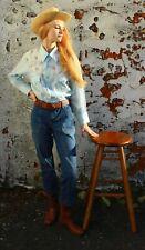 Vintage Women's Western Shirt Pearl Snap Baby Blue Floral Yoke Prairie Size L/44