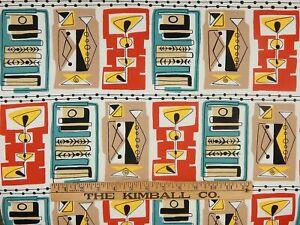 "Alexander Henry Cotton Quilt Fabric Remnant 2007 ""Martini"" 1950s MCM Retro 29"" L"