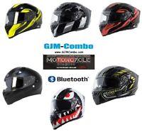 TORC T15 BlueTooth or Non BT Dual Visor Motorcycle Fiberglass Helmet or Shields