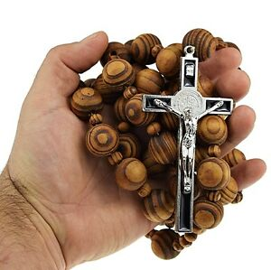 "Giant Wall Wood Rosary Large 20mm Beads 40"" Long 4"" Metal Saint Benedict Cross"