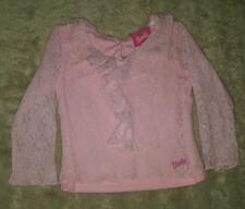 GIRLS Sz 3 pink BARBIE floral lace long sleeve top CUTE! SWEET!