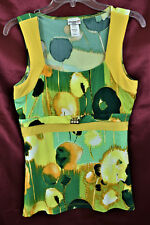 MUAA Sleeveless Slim Fit Rhimestones Stretch Shirt Top Blouse   Yellow Green   L