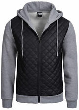 Urban Classics Hoodie TB1032 Diamond Half Leather Imitation Zip Kapuze  L TB1032