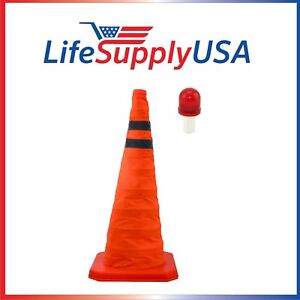 """Collapsible 28"""" Reflective Pop Up Safety Extendable Traffic Cone w LED Light"""