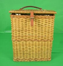 Abercrombie & Fitch English Wicker Hamper w/ Hot & Cold Thermos & Sandwich Tin