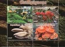 Chad 2014 Gomma integra, non linguellato funghi 4 V M/S funghi champignon funghi natura FRANCOBOLLI
