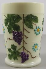 Vintage LG Wright Hand Painted Artist Signed Grape Floral Custard Glass Tumbler