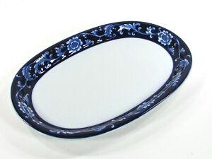 """Pier 1 Imports MANDARIN 14"""" Oval Serving Platter Cobalt Blue Floral Porcelain"""
