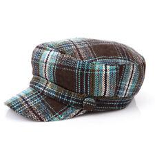 Womens Winter Autum Plaids Wool Herringbone Military Cap Patrol Army Hats Cadet