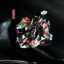 Broche Fleur Tissu Noir Rouge Argenté Vintage Original Soirée Mariage XZ4