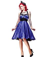 Hell Bunny Vera Satin 50s Polka Dot Rockabilly Halterneck Dress UK 12 (m) Purple