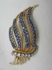 Estate 14K Gold Feather Pin w/ Well-Matched Cornflower Blue Sapphires & Diamonds