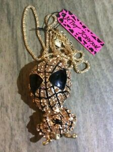 Betsy Johnson Crystal Pink Spiderman Pendant & Brooch Pin on Gold Necklace New!