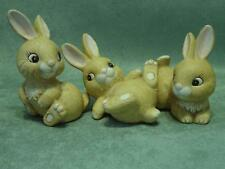 "Set of 3 Whimsical HOMCO Porcelain ""Bunny Rabbits""  Figurines No. 1442 EUC"