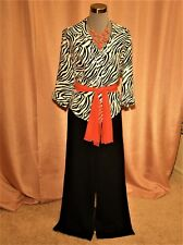 ST JOHN COUTURE PANT SUIT 16 tag BLACK WHITE SHELL + accr incld fit?14 L XL