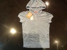 """NWT Juicy Couture New & Genuine Ladies Small Blue Velour Hoody With """"J"""" Pull"""