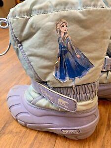 Girls Sorel Boots Frozen Elsa Size 13