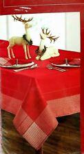 "Winter Wonderland Crescent Red Fabric Tablecloth 70"" ROUND"