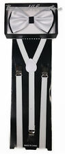 Men's Formal Accessories Black and White Bow Tie with White Skinny Suspenders