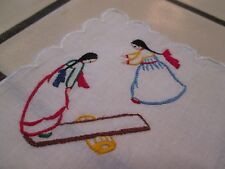 Vintage: Child's Cotton Hanky Embroidered Teeter-totter/See Saw
