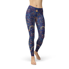 Butterfly Leggings For Women - Printed Blue Leggings with Paisley Pattern Print