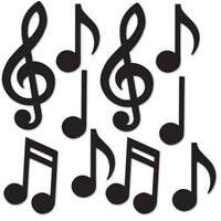 Mini Musical Notes Silhouette Cutouts 10 Pack Music Dance 1950s Party Decoration