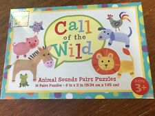 NIB Childrens 3+ Call of the Wild Animal Sounds Pairs Jigsaw Puzzles