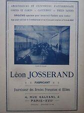 1924-1925 PUB LEON JOSSERAND ATELIER MONTAGE CORDE CABLE SANDOW AVION BALLON AD