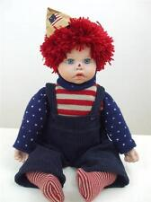 """1980's Patriotic Raggedy Andy Doll Knit Sweater Socks Corduroy Pants 19"""" tall"""